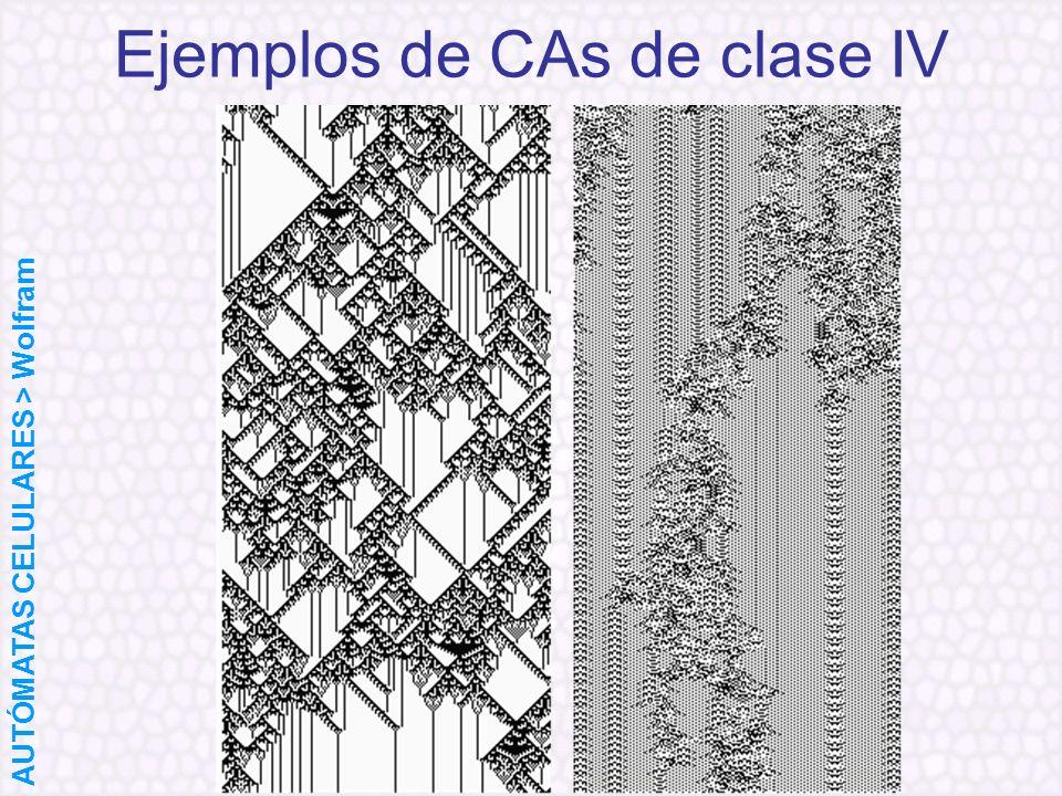 Ejemplos de CAs de clase IV AUTÓMATAS CELULARES > Wolfram