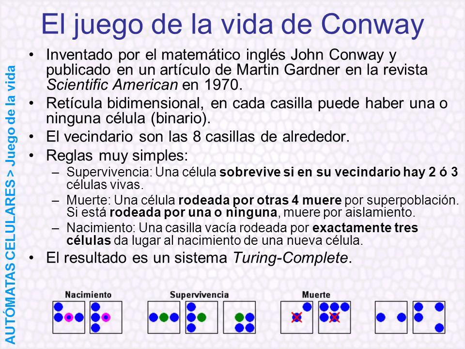 El juego de la vida de Conway Inventado por el matemático inglés John Conway y publicado en un artículo de Martin Gardner en la revista Scientific Ame
