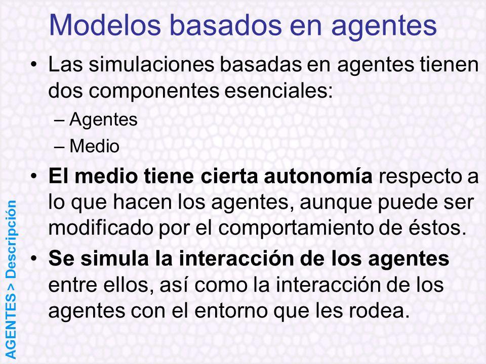 Las simulaciones basadas en agentes tienen dos componentes esenciales: –Agentes –Medio El medio tiene cierta autonomía respecto a lo que hacen los age