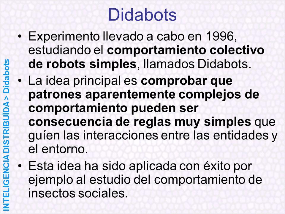 Didabots Experimento llevado a cabo en 1996, estudiando el comportamiento colectivo de robots simples, llamados Didabots. La idea principal es comprob