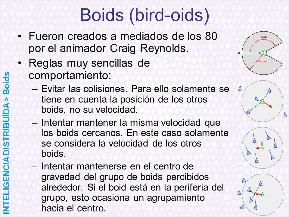 Boids (bird-oids) Fueron creados a mediados de los 80 por el animador Craig Reynolds. Reglas muy sencillas de comportamiento: –Evitar las colisiones.