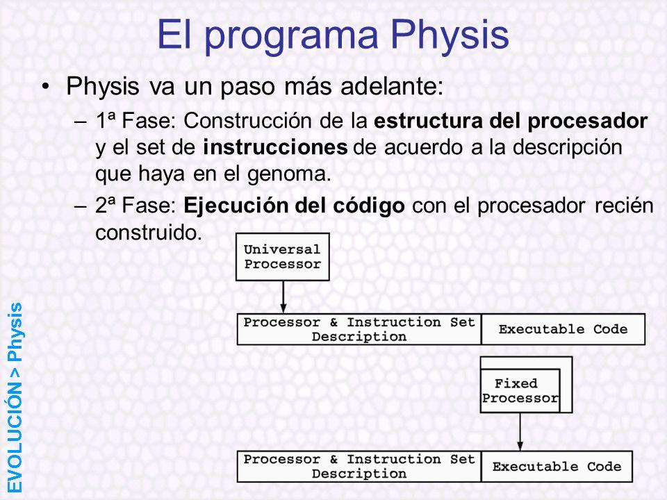 El programa Physis Physis va un paso más adelante: –1ª Fase: Construcción de la estructura del procesador y el set de instrucciones de acuerdo a la de