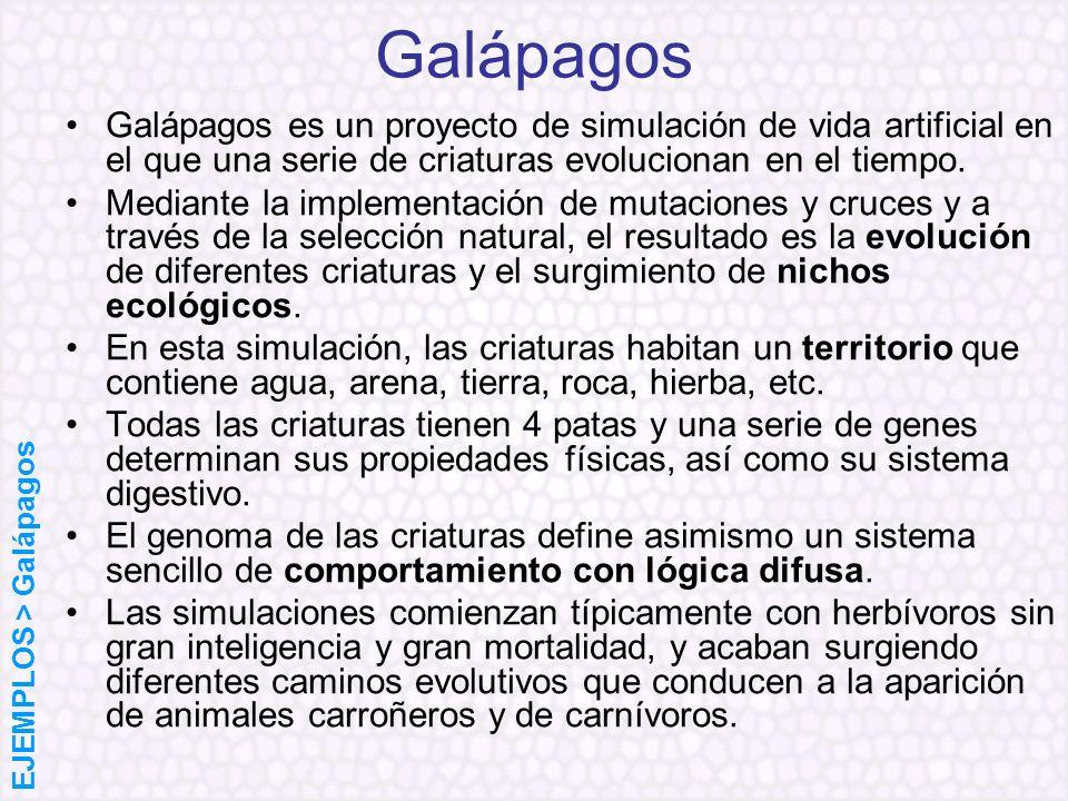 Galápagos Galápagos es un proyecto de simulación de vida artificial en el que una serie de criaturas evolucionan en el tiempo. Mediante la implementac