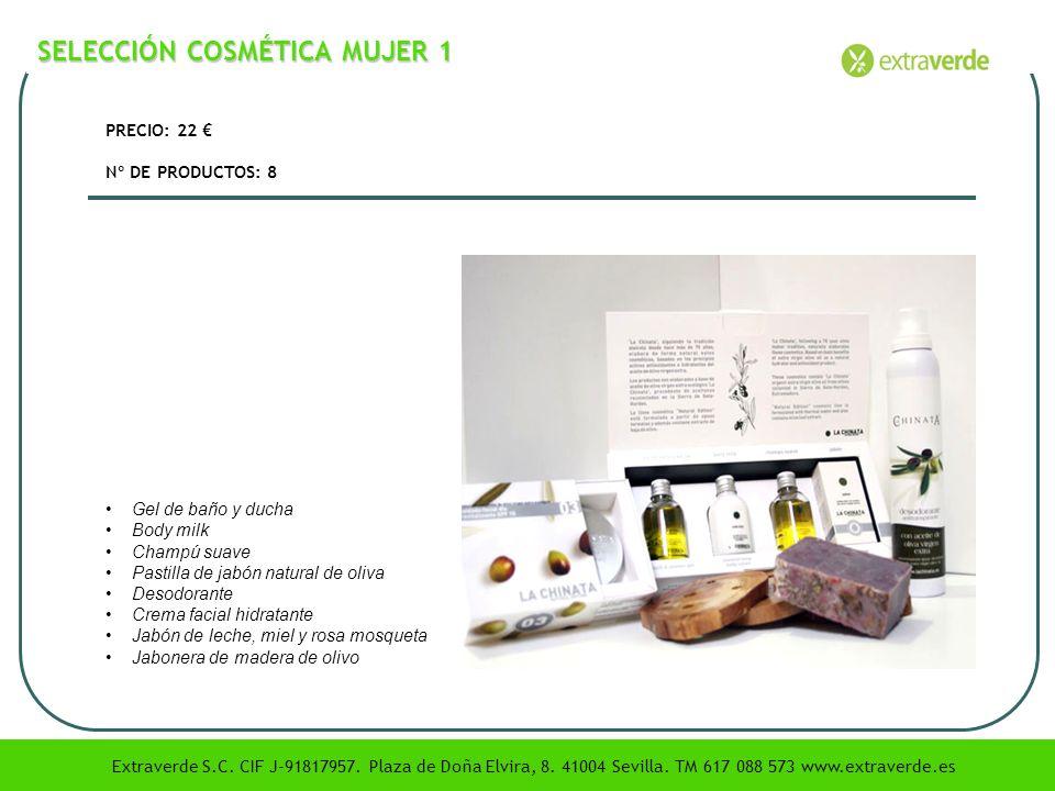 SELECCIÓN COSMÉTICA MUJER 1 PRECIO: 22 Nº DE PRODUCTOS: 8 Gel de baño y ducha Body milk Champú suave Pastilla de jabón natural de oliva Desodorante Cr