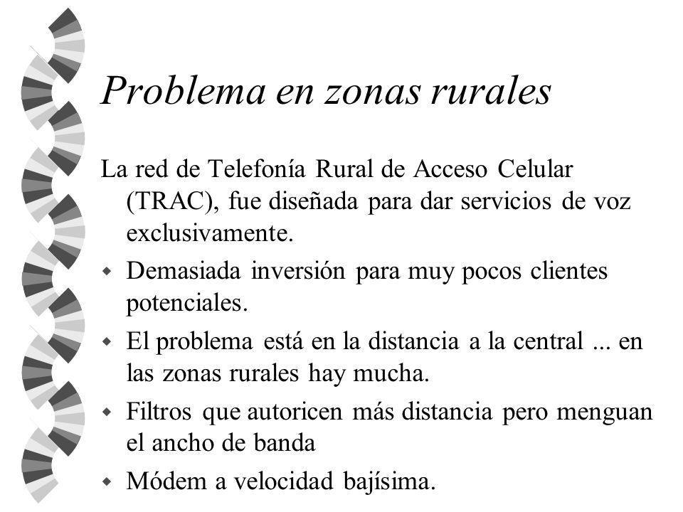 Problema en zonas rurales La red de Telefonía Rural de Acceso Celular (TRAC), fue diseñada para dar servicios de voz exclusivamente. w Demasiada inver