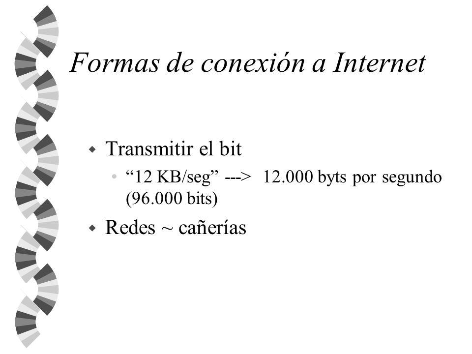 Formas de conexión a Internet w Transmitir el bit 12 KB/seg ---> 12.000 byts por segundo (96.000 bits) w Redes ~ cañerías