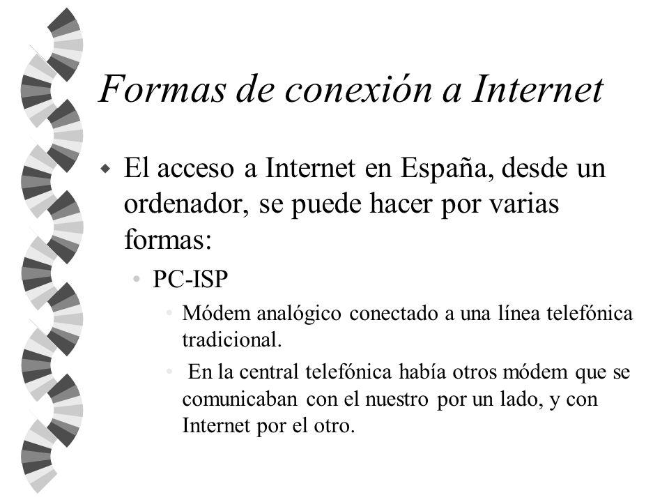 Formas de conexión a Internet w El acceso a Internet en España, desde un ordenador, se puede hacer por varias formas: PC-ISP Módem analógico conectado