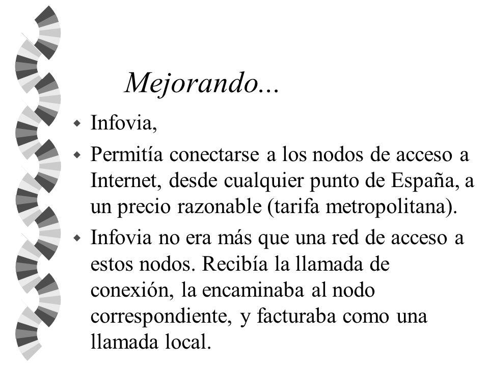 Mejorando... w Infovia, w Permitía conectarse a los nodos de acceso a Internet, desde cualquier punto de España, a un precio razonable (tarifa metropo