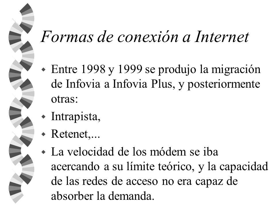 Formas de conexión a Internet w Entre 1998 y 1999 se produjo la migración de Infovia a Infovia Plus, y posteriormente otras: w Intrapista, w Retenet,.