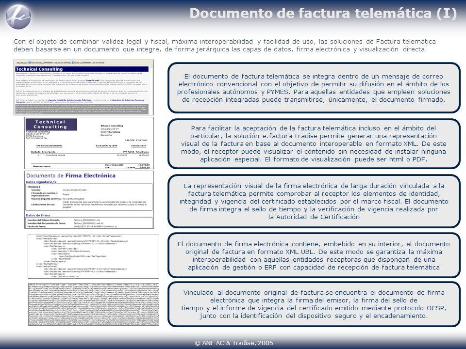Documento de factura telemática (I) El documento de factura telemática se integra dentro de un mensaje de correo electrónico convencional con el objet
