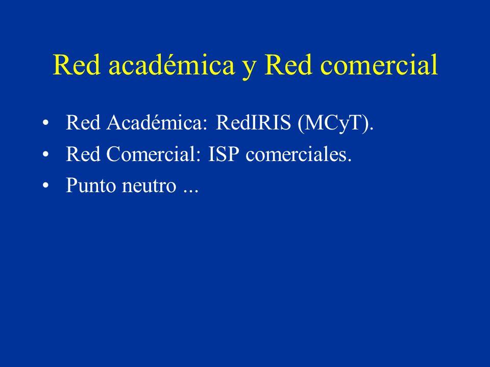 Red académica y Red comercial Red Académica: RedIRIS (MCyT).