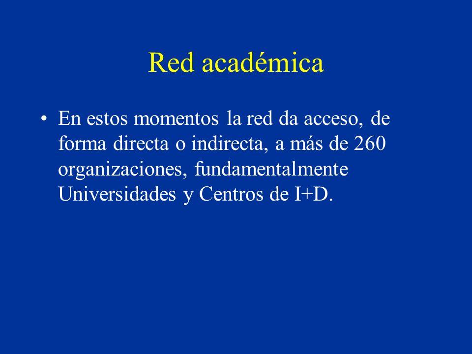 Red académica En estos momentos la red da acceso, de forma directa o indirecta, a más de 260 organizaciones, fundamentalmente Universidades y Centros de I+D.
