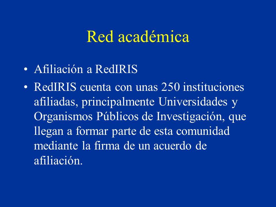 Red académica Afiliación a RedIRIS RedIRIS cuenta con unas 250 instituciones afiliadas, principalmente Universidades y Organismos Públicos de Investigación, que llegan a formar parte de esta comunidad mediante la firma de un acuerdo de afiliación.