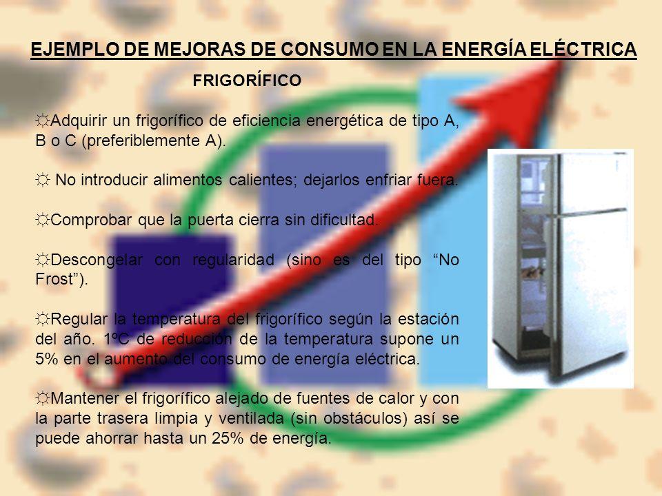 EJEMPLO DE MEJORAS DE CONSUMO EN LA ENERGÍA ELÉCTRICA FRIGORÍFICO Adquirir un frigorífico de eficiencia energética de tipo A, B o C (preferiblemente A
