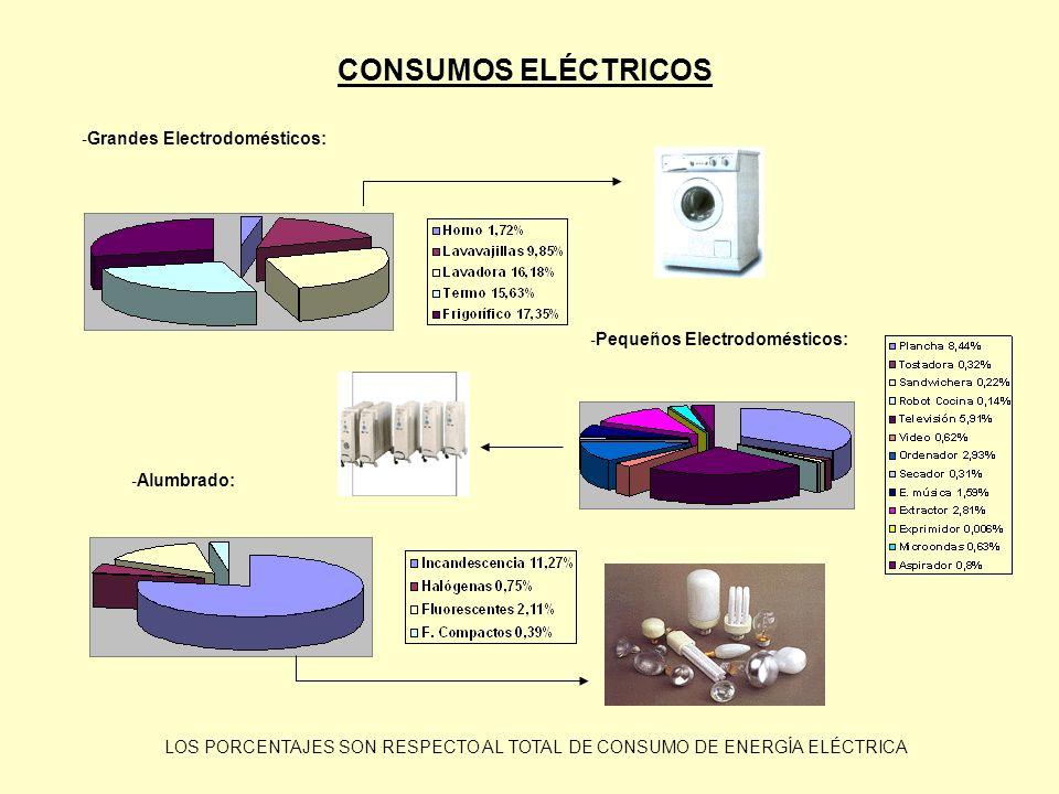 - Grandes Electrodomésticos: - Pequeños Electrodomésticos: - Alumbrado: CONSUMOS ELÉCTRICOS LOS PORCENTAJES SON RESPECTO AL TOTAL DE CONSUMO DE ENERGÍ