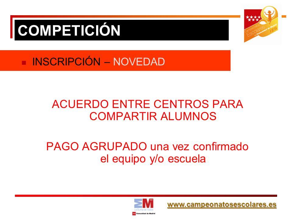 www.campeonatosescolares.es INSCRIPCIÓN – NOVEDAD ACUERDO ENTRE CENTROS PARA COMPARTIR ALUMNOS PAGO AGRUPADO una vez confirmado el equipo y/o escuela