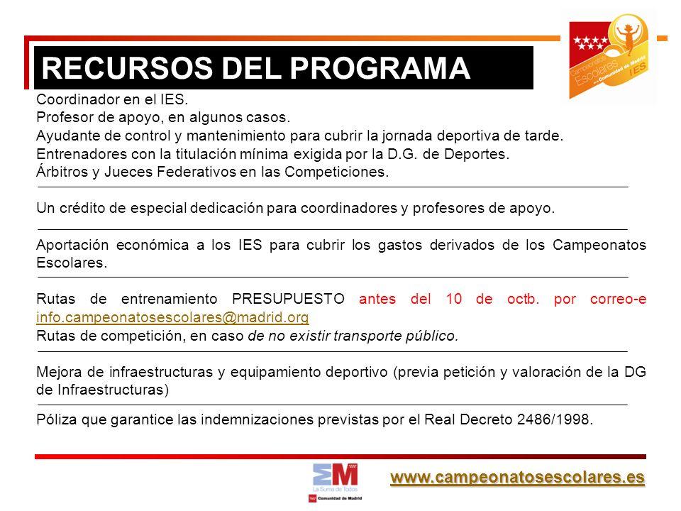 www.campeonatosescolares.es RECURSOS DEL PROGRAMA Coordinador en el IES. Profesor de apoyo, en algunos casos. Ayudante de control y mantenimiento para