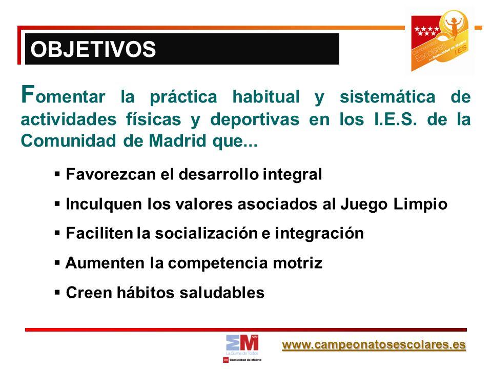 www.campeonatosescolares.es F omentar la práctica habitual y sistemática de actividades físicas y deportivas en los I.E.S. de la Comunidad de Madrid q