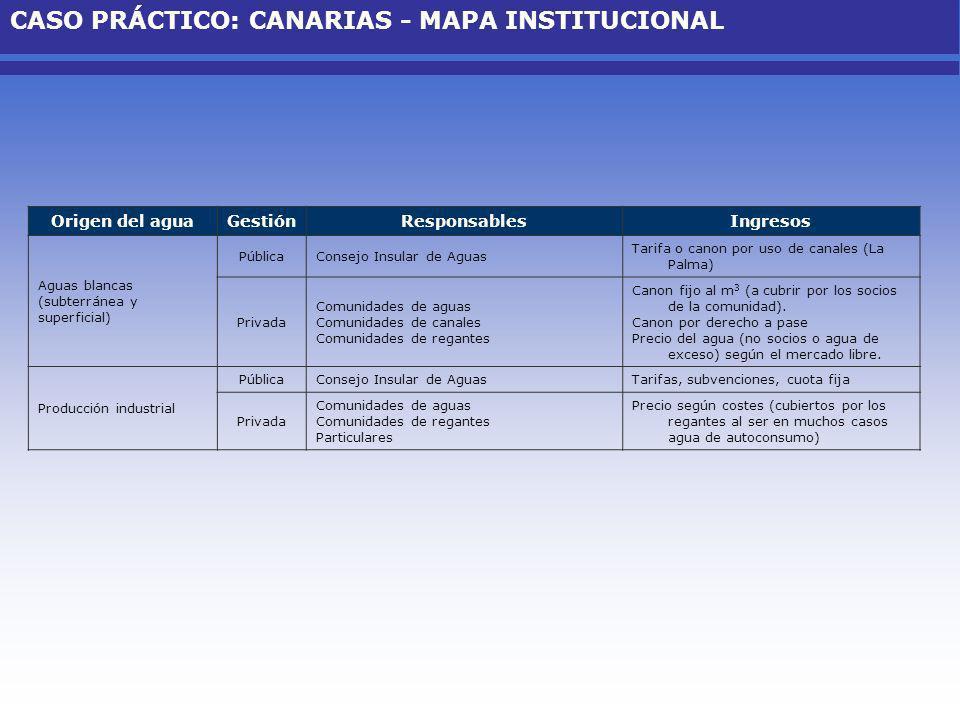 AMORTIZACIÓN (/año) MAPA-IRYDA- CANARIAS MMA- CANARIAS CIA - CANARIAS Autofinanciada 10.744.7604.417.5451.925.30733.680.768 Costes de Capital Considerando el total de las hectáreas de regadío, en Canarias se estima un valor anual de coste de capital de 1.625 /ha y una media de 0,20 /m 3.