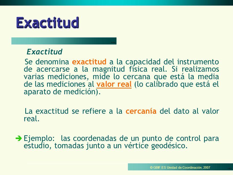 © GBIF.ES Unidad de Coordinación, 2007 PrecisiónPrecisión Precisión puede ser de dos tipos dependiendo del ámbito de estudio: Precisión Estadística Es la cercanía con la que sucesivas observaciones se ajustan a sí mismas.