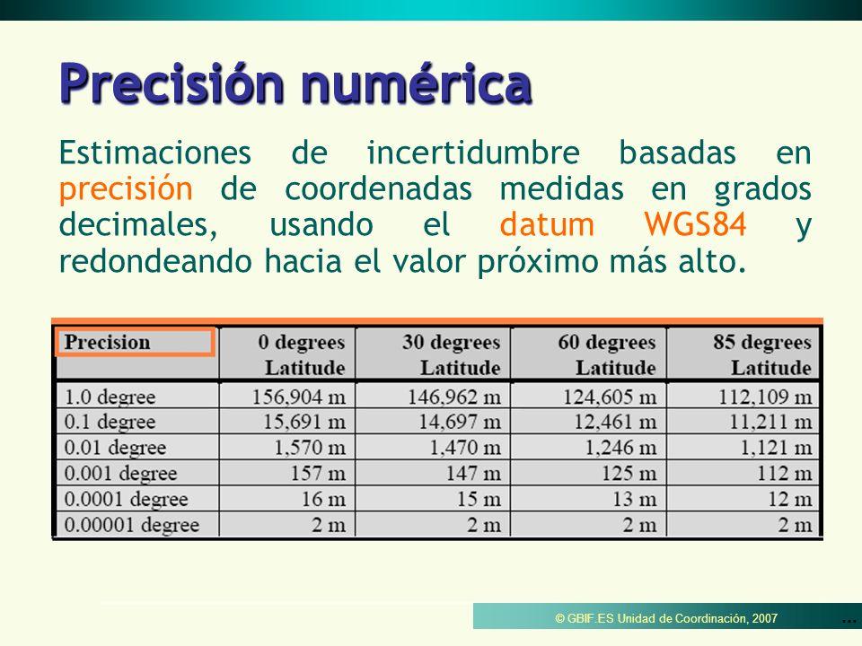 © GBIF.ES Unidad de Coordinación, 2007 Precisión numérica Estimaciones de incertidumbre basadas en precisión de coordenadas medidas en grados decimale