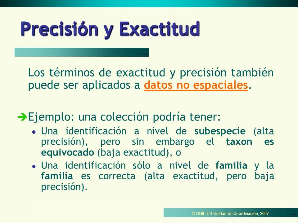 ... © GBIF.ES Unidad de Coordinación, 2007 Precisión y Exactitud Los términos de exactitud y precisión también puede ser aplicados a datos no espacial