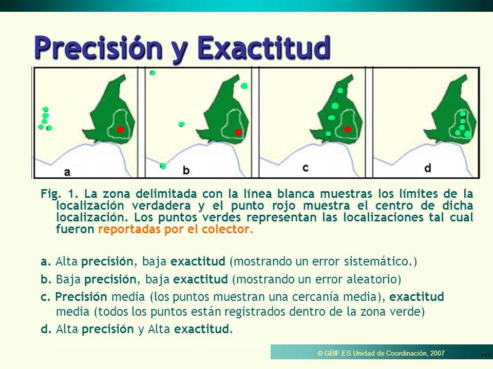 © GBIF.ES Unidad de Coordinación, 2007 Precisión y Exactitud Fig. 1. La zona delimitada con la línea blanca muestras los límites de la localización ve