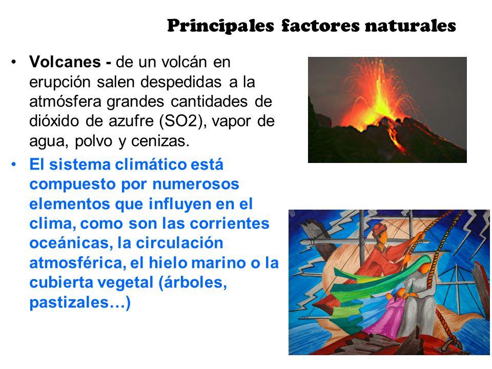 Volcanes - de un volcán en erupción salen despedidas a la atmósfera grandes cantidades de dióxido de azufre (SO2), vapor de agua, polvo y cenizas. El