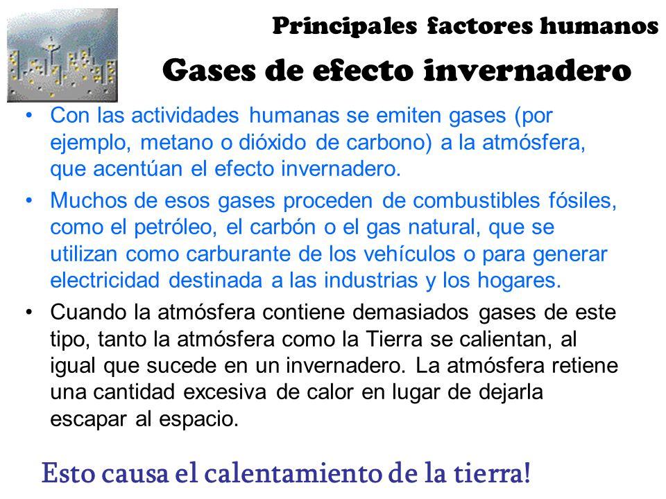 Gases de efecto invernadero Con las actividades humanas se emiten gases (por ejemplo, metano o dióxido de carbono) a la atmósfera, que acentúan el efe