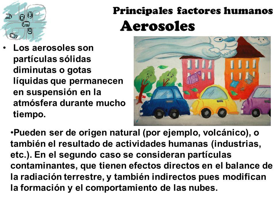Aerosoles Los aerosoles son partículas sólidas diminutas o gotas líquidas que permanecen en suspensión en la atmósfera durante mucho tiempo. Principal
