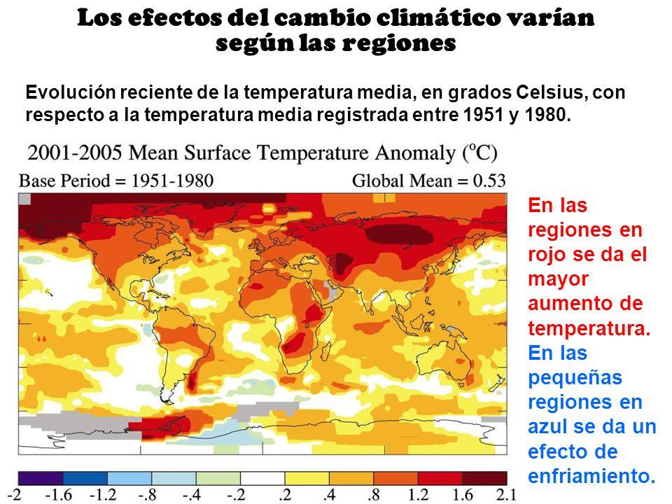 Los efectos del cambio climático varían según las regiones Evolución reciente de la temperatura media, en grados Celsius, con respecto a la temperatur