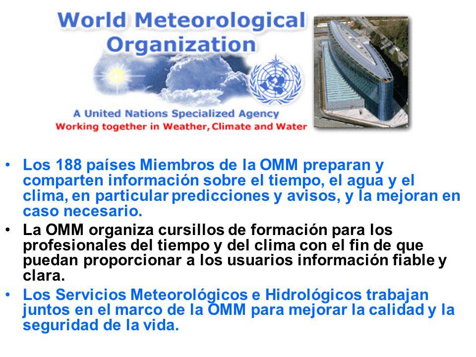 Los 188 países Miembros de la OMM preparan y comparten información sobre el tiempo, el agua y el clima, en particular predicciones y avisos, y la mejo