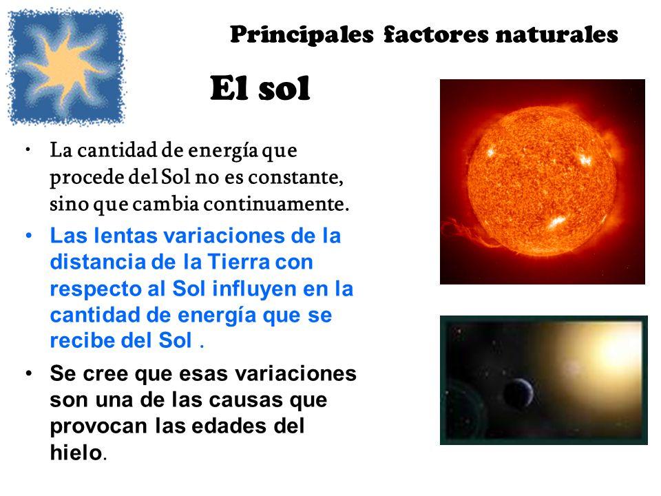 El sol La cantidad de energía que procede del Sol no es constante, sino que cambia continuamente. Las lentas variaciones de la distancia de la Tierra