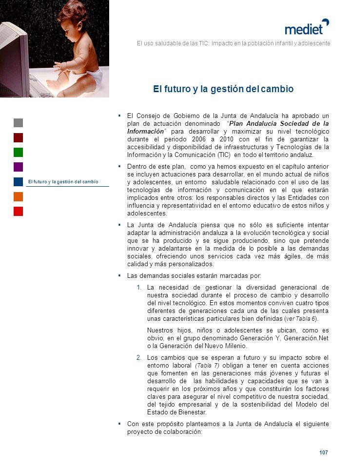 El uso saludable de las TIC: impacto en la población infantil y adolescente 107 El Consejo de Gobierno de la Junta de Andalucía ha aprobado un plan de