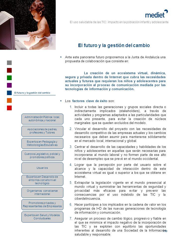 El uso saludable de las TIC: impacto en la población infantil y adolescente 110 Ante este panorama futuro proponemos a la Junta de Andalucía una propu