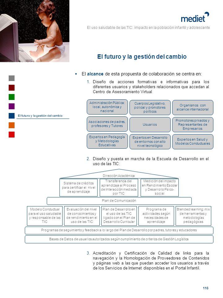 El uso saludable de las TIC: impacto en la población infantil y adolescente 116 El alcance de esta propuesta de colaboración se centra en: 1.Diseño de