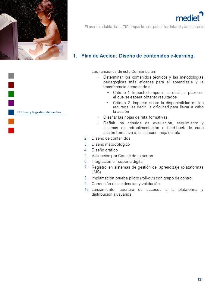 El uso saludable de las TIC: impacto en la población infantil y adolescente 121 1.Plan de Acción: Diseño de contenidos e-learning. Las funciones de es