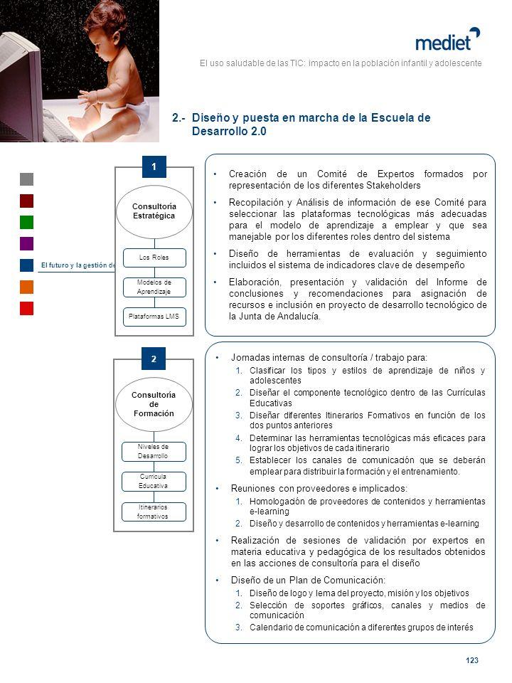 El uso saludable de las TIC: impacto en la población infantil y adolescente 123 El futuro y la gestión del cambio Creación de un Comité de Expertos fo