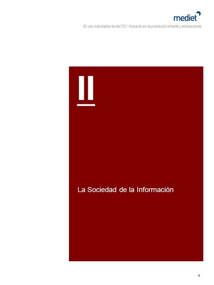 El uso saludable de las TIC: impacto en la población infantil y adolescente 27 En el último estudio realizado por la Consejería de Innovación de la Junta de Andalucía, el barómetro I@lándalus 2005, demuestra que en Andalucía aún queda mucho camino por recorrer.