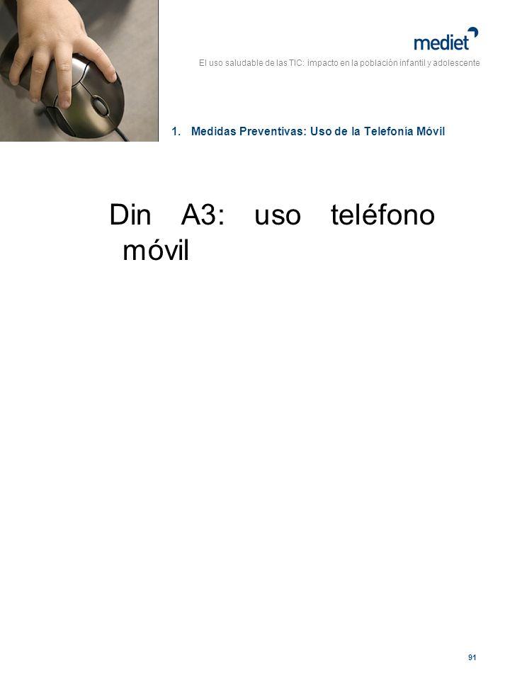 El uso saludable de las TIC: impacto en la población infantil y adolescente 91 Din A3: uso teléfono móvil 1.Medidas Preventivas: Uso de la Telefonía M