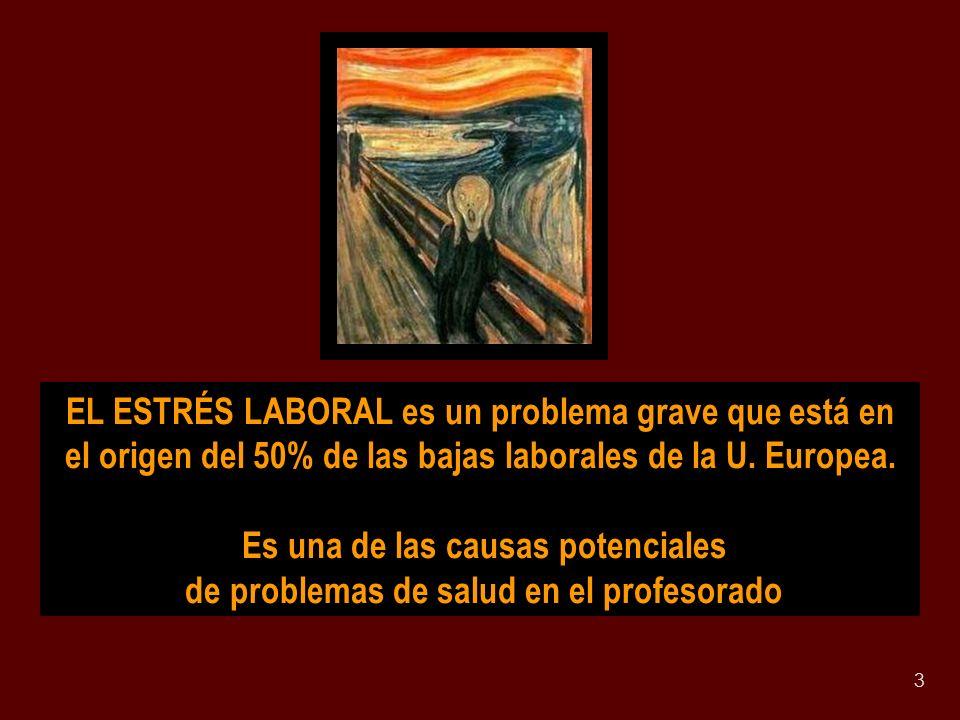 3 EL ESTRÉS LABORAL es un problema grave que está en el origen del 50% de las bajas laborales de la U. Europea. Es una de las causas potenciales de pr