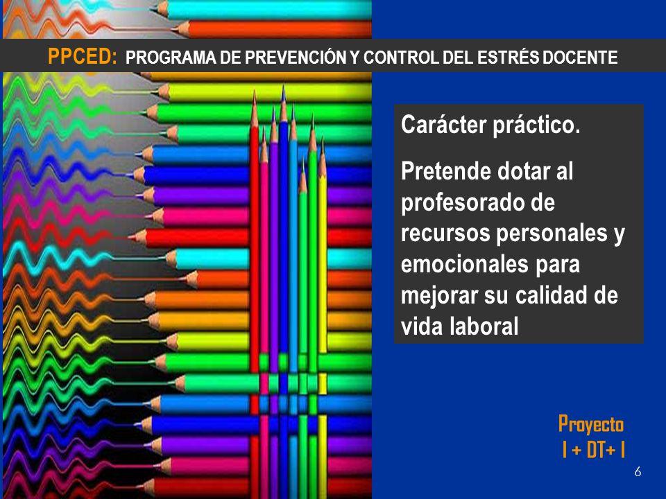 ESTRUCTURA DEL PROGRAMA: Consta de tres fases PRE-EVALUACIÓN: Analizar estrés, satisfacción laboral, fuentes específicas de estrés y valoración de la salud general del profesorado 1º 2º 3º PROGRAMA DE INTERVENCIÓN: 10-12 sesiones en grupo de entrenamiento para la mejora de recursos personales, interpersonales, profesionales y emocionales de afrontamiento del estrés POST-EVALUACIÓN: Evaluar (meses después de la implementación) la eficacia y los efectos del programa.