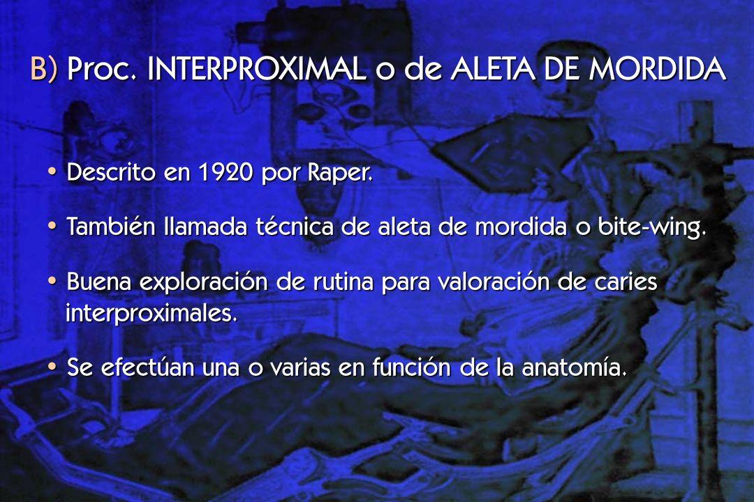 Indicaciones: B) Proc.INTERPROXIMAL o de ALETA DE MORDIDA Caries interproximales y oclusales.