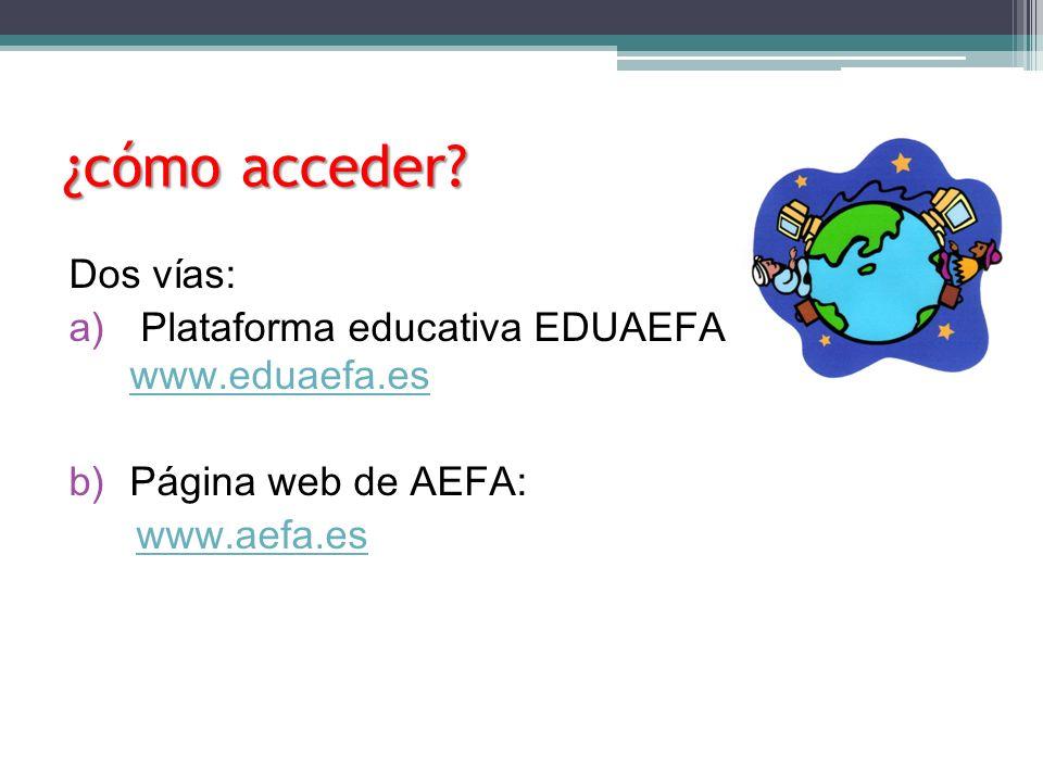 ¿cómo acceder? Dos vías: a) Plataforma educativa EDUAEFA www.eduaefa.es www.eduaefa.es b) Página web de AEFA: www.aefa.es