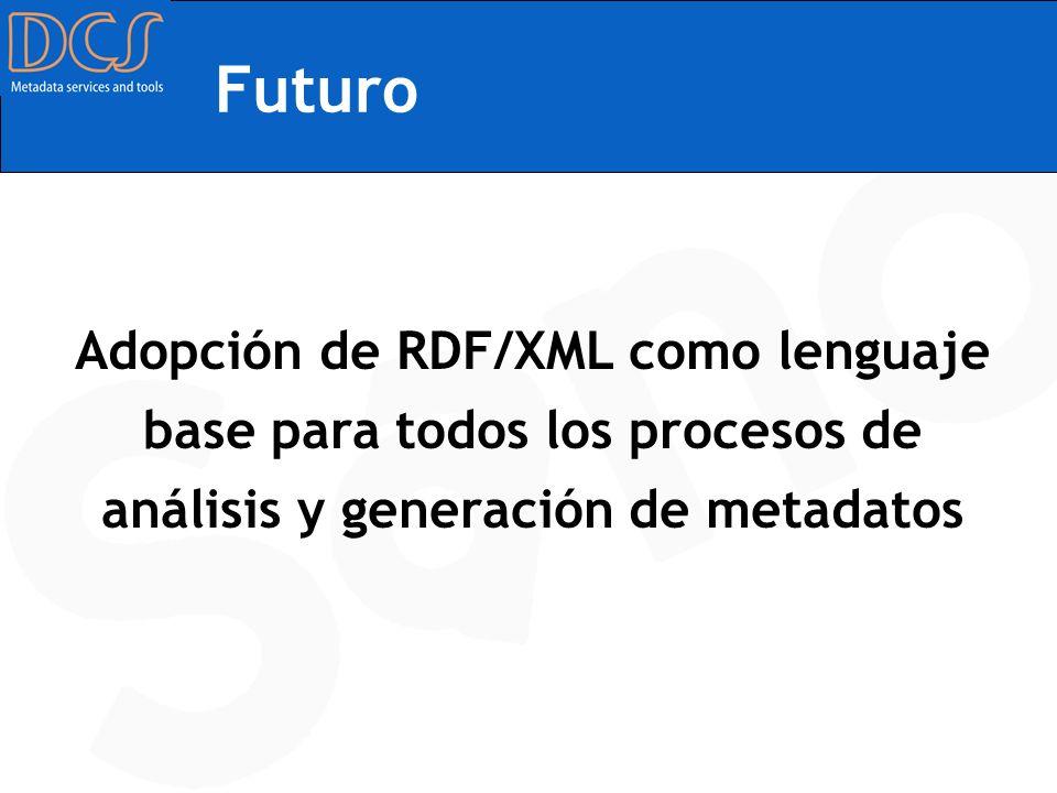 Futuro Adopción de RDF/XML como lenguaje base para todos los procesos de análisis y generación de metadatos