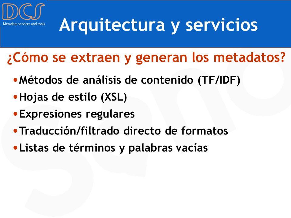 Arquitectura y servicios Métodos de análisis de contenido (TF/IDF) Hojas de estilo (XSL) Expresiones regulares Traducción/filtrado directo de formatos