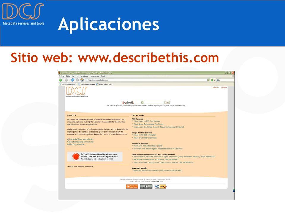 Aplicaciones Sitio web: www.describethis.com