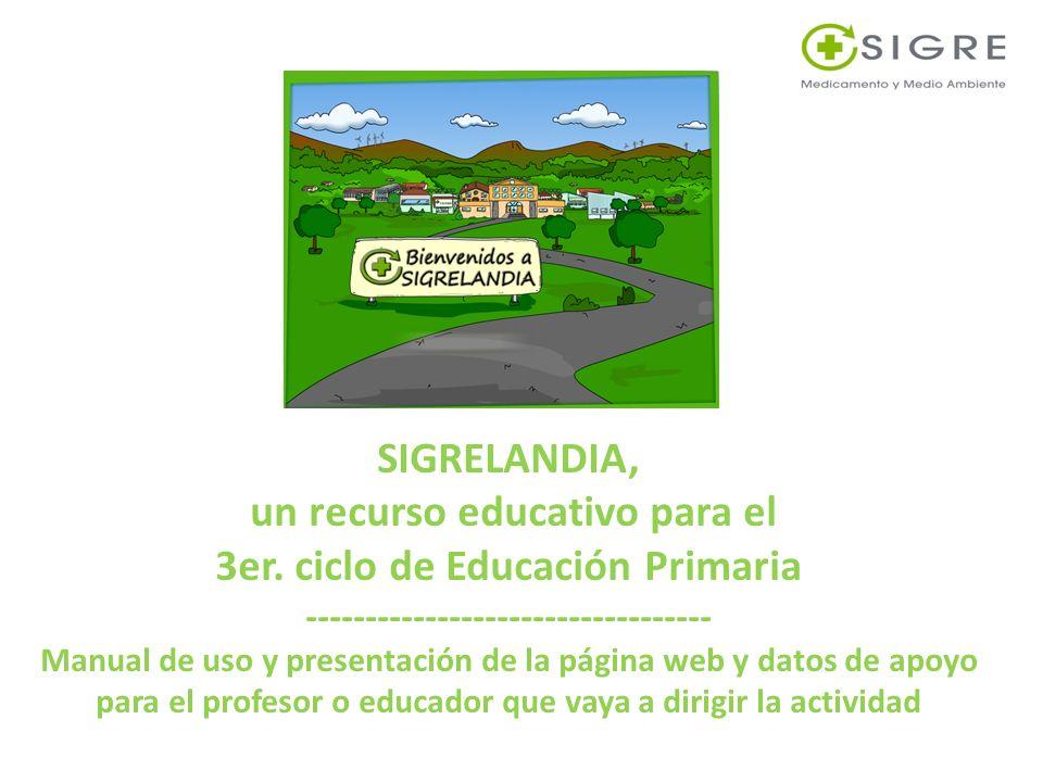 SIGRELANDIA, un recurso educativo para el 3er. ciclo de Educación Primaria ---------------------------------- Manual de uso y presentación de la págin