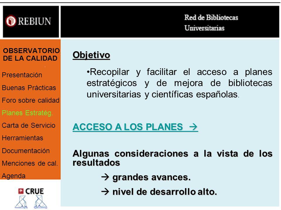OBSERVATORIO DE LA CALIDAD Presentación Buenas Prácticas Foro sobre calidad Planes Estratég. Carta de Servicio Herramientas Documentación Menciones de