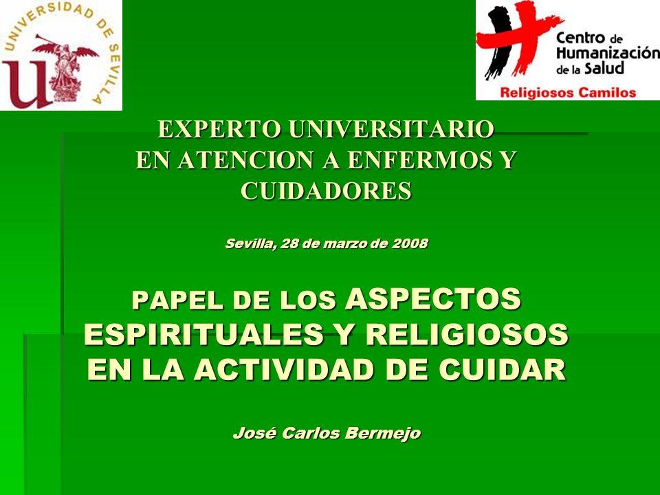 EXPERTO UNIVERSITARIO EN ATENCION A ENFERMOS Y CUIDADORES Sevilla, 28 de marzo de 2008 PAPEL DE LOS ASPECTOS ESPIRITUALES Y RELIGIOSOS EN LA ACTIVIDAD